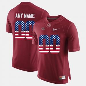 For Men's Crimson US Flag Fashion #00 Alabama Custom Jersey 264787-757