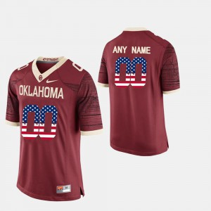 US Flag Fashion Men Crimson #00 OU Customized Jersey 144723-185