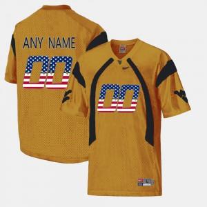 Gold WVU Custom Jerseys #00 US Flag Fashion For Men's 744421-109