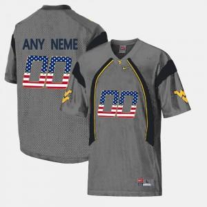 For Men's US Flag Fashion Grey WVU Customized Jerseys #00 632892-496