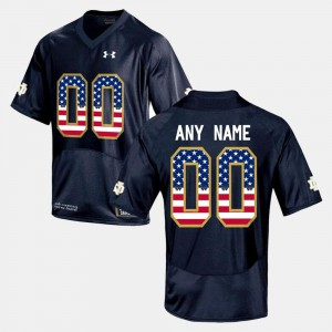 Notre Dame Custom Jerseys Men US Flag Fashion #00 Navy Blue 123402-286