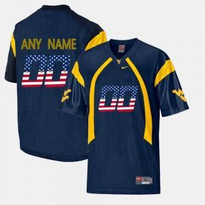 WVU Custom Jerseys Men's Navy Blue US Flag Fashion #00 513856-641