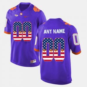 For Men Clemson Customized Jerseys Purple US Flag Fashion #00 877197-982