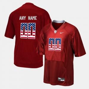 Red Alabama Customized Jersey Men's US Flag Fashion #00 516921-511