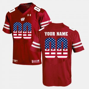For Men #00 Red Wisconsin Custom Jersey US Flag Fashion 929478-587