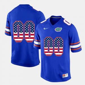 Gators Customized Jersey For Men's US Flag Fashion #00 Royal Blue 352201-431