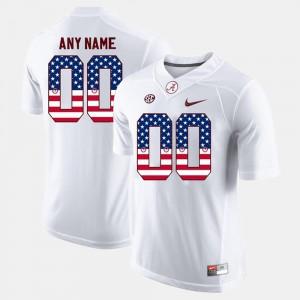 Alabama Custom Jerseys Men's US Flag Fashion #00 White 355698-795