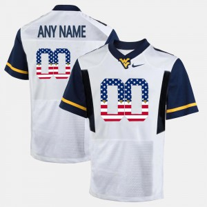 White WVU Customized Jersey #00 US Flag Fashion For Men 969270-414