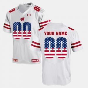 Wisconsin Customized Jersey US Flag Fashion #00 Men's White 954018-501