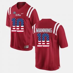 Men Eli Manning Ole Miss Jersey #10 US Flag Fashion Red 131105-183