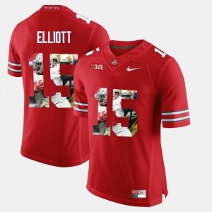 #15 Pictorial Fashion Ezekiel Elliott OSU Jersey For Men Scarlet 752705-951
