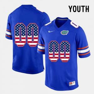 Gators Customized Jerseys US Flag Fashion #00 Kids Blue 599816-528