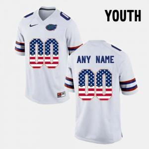 Gators Custom Jersey Youth(Kids) White #00 US Flag Fashion 653922-747
