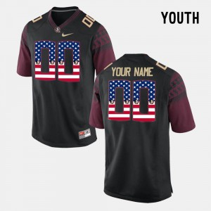 #00 For Kids US Flag Fashion Black FSU Customized Jerseys 547755-660