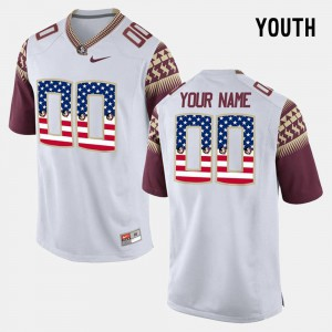 White Kids US Flag Fashion #00 FSU Custom Jerseys 708265-716