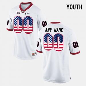 Kids US Flag Fashion UGA Customized Jersey White #00 745030-665