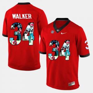 Player Pictorial #34 For Men's Red Herschel Walker UGA Jersey 594961-936