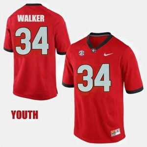 Herschel Walker UGA Jersey #34 College Football Red Youth 371781-153