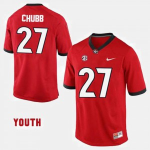 Red Nick Chubb UGA Jersey College Football #27 For Kids 125221-665
