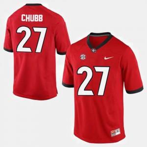 Red College Football #27 Nick Chubb UGA Jersey Men's 810614-869