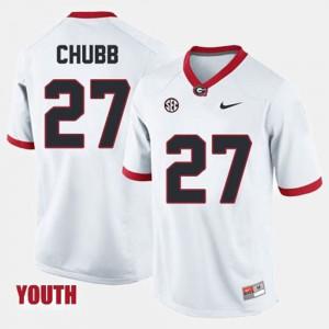 White For Kids Nick Chubb UGA Jersey College Football #27 359547-870