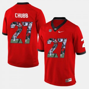 #27 Red Nick Chubb UGA Jersey Men's Player Pictorial 591830-301
