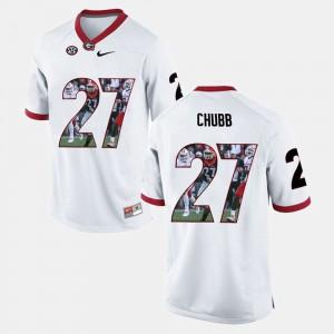 White Nick Chubb UGA Jersey Mens Player Pictorial #27 540109-210