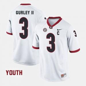 College Football White #3 Todd Gurley II UGA Jersey Kids 504897-455