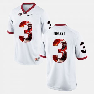 Player Pictorial White For Men's #3 Todd Gurley II UGA Jersey 170207-155