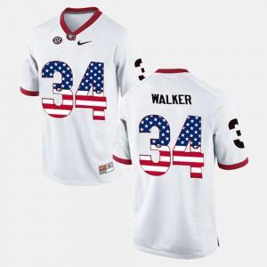 White For Men's Herschel Walker UGA Jersey US Flag Fashion #34 667063-893