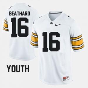 #16 C.J. Beathard Iowa Jersey Youth(Kids) White College Football 480051-217