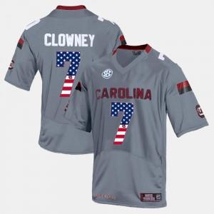 Jadeveon Clowney South Carolina Jersey Gray US Flag Fashion #7 For Men 878686-916