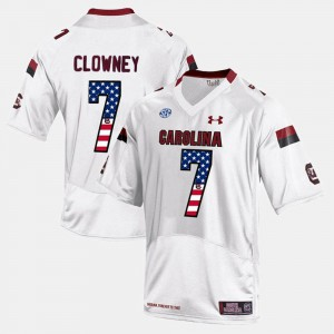 #7 US Flag Fashion Jadeveon Clowney South Carolina Jersey White For Men 633506-421