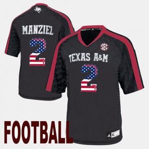 For Men's US Flag Fashion Black Johnny Manziel Texas A&M Jersey #2 325172-551