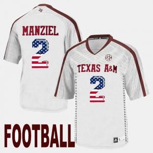 US Flag Fashion #2 Johnny Manziel Texas A&M Jersey White For Men's 316048-804