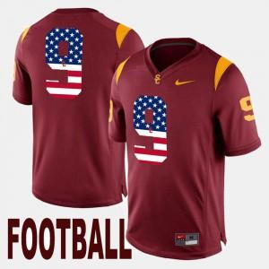 JuJu Smith-Schuster USC Jersey US Flag Fashion #9 Maroon Men's 988221-339