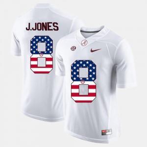 Julio Jones Alabama Jersey #8 White Mens US Flag Fashion 801952-635