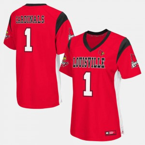 #1 Louisville Jersey Womens College Football Red 150393-163