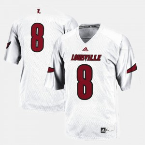 White #8 For Men College Football Louisville Jersey 752030-601