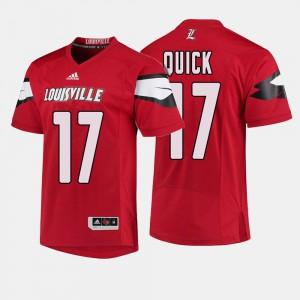 Red #17 Men College Football James Quick Louisville Jersey 154714-853
