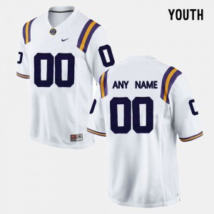For Kids LSU Customized Jerseys White #00 College Limited Football 102164-997