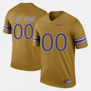 #00 LSU Customized Jerseys Gridiron Gold Men's Throwback 478859-181