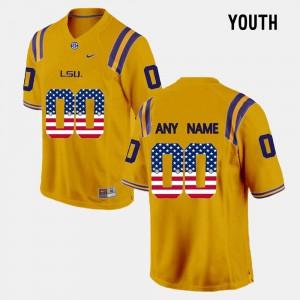 LSU Custom Jerseys US Flag Fashion Youth Gold #00 833377-167