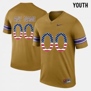 Youth US Flag Fashion LSU Customized Jerseys #00 Gridiron Gold 470234-705