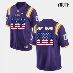 US Flag Fashion #00 Youth Purple LSU Custom Jerseys 432004-683