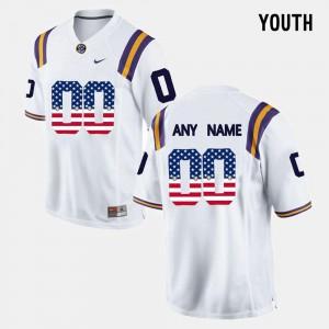 Kids #00 US Flag Fashion LSU Custom Jerseys White 769183-449