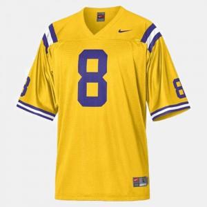 College Football Mens Gold Zach Mettenberger LSU Jersey #8 406578-789