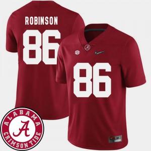 Mens A'Shawn Robinson Alabama Jersey Crimson #86 College Football 2018 SEC Patch 470720-483