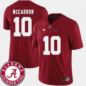 AJ McCarron Alabama Jersey For Men College Football #10 2018 SEC Patch Crimson 464687-440