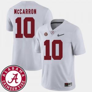 #10 AJ McCarron Alabama Jersey College Football White Mens 2018 SEC Patch 251667-396